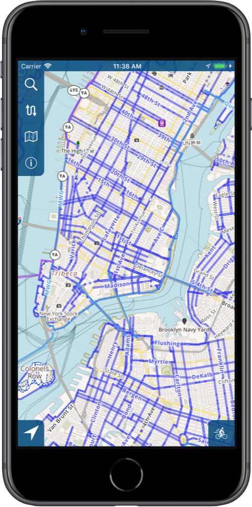 Bike Maps | Pathym Direct Distance Map on
